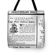 Ship Announcement, 1770 Tote Bag