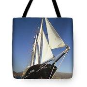Ship Sailing Through The Galapagos Tote Bag