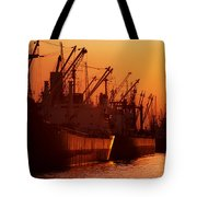 Shipping Freighters At Sunset Tote Bag