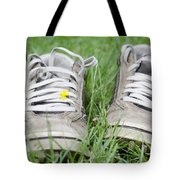 Shoes On The Green Grass Tote Bag