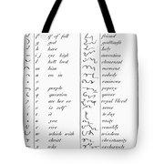 Shorthand, 1779 Tote Bag