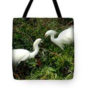 Showy Snowy Egrets Tote Bag