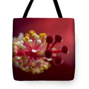 Showy Tropical Vibrant Red Hibiscus Pistil Tote Bag