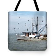 Shrimp Boat And Gulls Tote Bag
