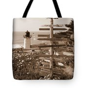 Sign At Point Montara Lighthouse - Sepia Tote Bag