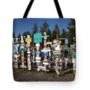 Sign Posts Forest In Watson Lake Yukon Tote Bag