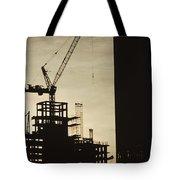 Silhouette Crane At A Skyscraper Tote Bag