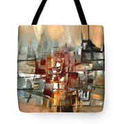 Silhouette Of A City Is Reflected In The Lake Tote Bag