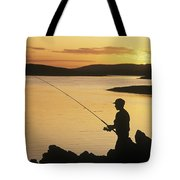 Silhouette Of A Fisherman Fishing On Tote Bag
