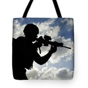Silhouette Of A Soldier Tote Bag
