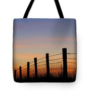 Silhouette Of Barbed Wire Fence Tote Bag
