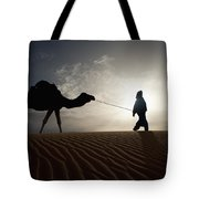 Silhouette Of Berber Leading Camel Tote Bag