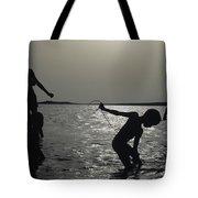 Silhouette Of Boys Fishing Tote Bag