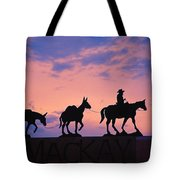 Silhouette Of Donkey Train Statue Tote Bag