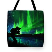 Silhouette Of Photographer Shooting Stars Tote Bag
