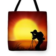 Silhouette Of Photographer With Big Sun  Tote Bag