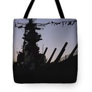 Silhouette Of The Battleship U.s.s Tote Bag