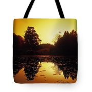 Silhouetted Home And Trees Near Water Tote Bag