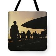 Silhouetted Military Personnel Tote Bag