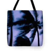 Silhouetted Palm Trees Blow In The Wind Tote Bag