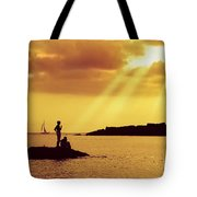 Silhouettes On The Beach Tote Bag by Carlos Caetano
