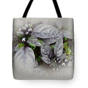 Silver Leaves And Berries Tote Bag