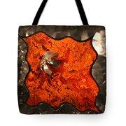 Silver Metal Flower On Orange Tote Bag