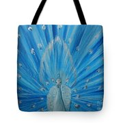 Silver Peacock Tote Bag