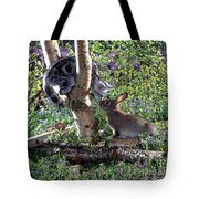 Silver Tabby And Wild Rabbit Tote Bag