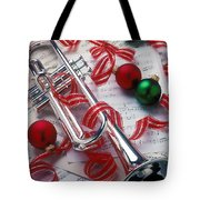 Silver Trumper And Christmas Ornaments Tote Bag