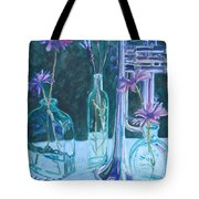 Silvery Night Music Tote Bag