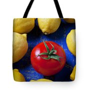 Single Tomato With Lemons Tote Bag by Garry Gay