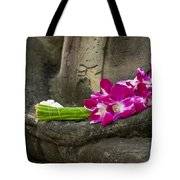 Sitting Buddha In Meditation Position With Fresh Orchid Flowers Tote Bag