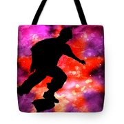 Skateboarder In Cosmic Clouds Tote Bag