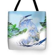 Ski Sledding Blue Polar Bear Tote Bag