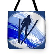 Skiing And Snowflakes Tote Bag