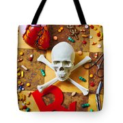 Skull And Bones With Medical Icons Tote Bag by Garry Gay