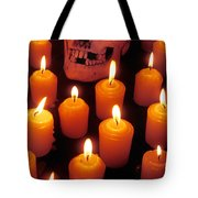 Skull And Candles Tote Bag