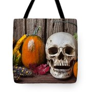 Skull And Gourds Tote Bag
