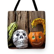 Skull And Jack-o-lantern Tote Bag