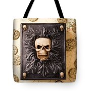 Skull Box With Skeleton Key Tote Bag