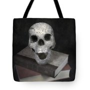 Skull On Books Tote Bag by Joana Kruse