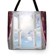 Sky View Through Open Window Tote Bag