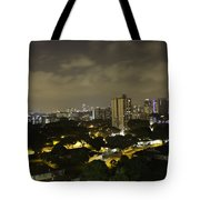 Skyline Of A Part Of Singapore At Night Tote Bag