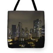 Skyline Of Singapore At Night As Seen From An Apartment Complex Tote Bag