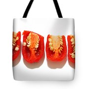 Sliced Red Peppers Tote Bag