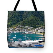 Small Idyllic Yacht Harbor  Tote Bag