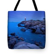 Small Lighthouse And House At Dusk Tote Bag