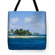 Small Palm Tree Covered Islands In Blue Tote Bag