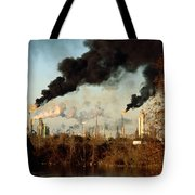 Smoke Billows From The Exxon Oil Tote Bag
